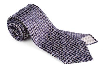 Floral Silk Tie - Untipped - Navy Blue/Orange