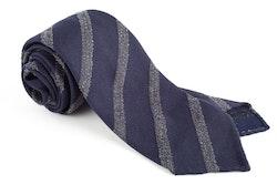 Regimental Textured Wool/Silk Tie - Untipped - Navy Blue/Grey