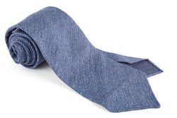 Solid Textured Silk Tie - Untipped - Blue