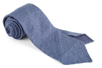 Solid Textured Silk Tie - Untipped - Blue