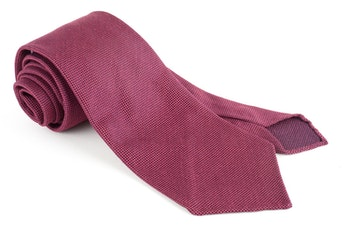 Solid Textured Silk Tie - Untipped - Red/Rust