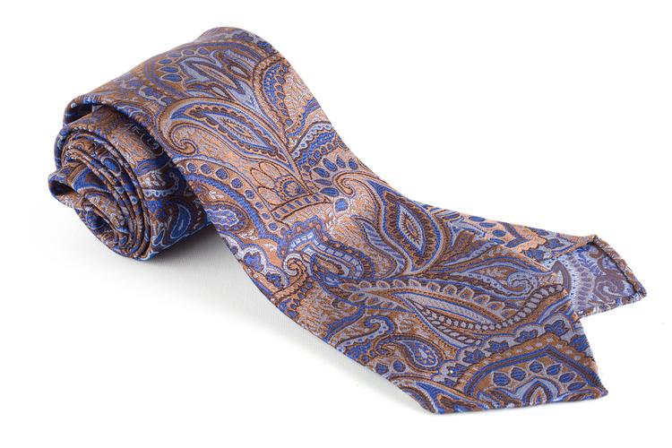 Paisley Silk Tie - Untipped - Brown/Light Blue