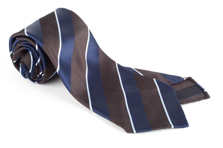 Regimental Silk Tie - Untipped - Navy Blue/Brown/Light Blue