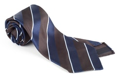 Regimental Silk Tie - Untipped - Navy Blue/Brown/Light Blue