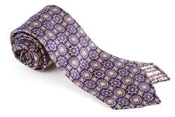 Medallion Silk Tie - Untipped - Navy Blue/Beige