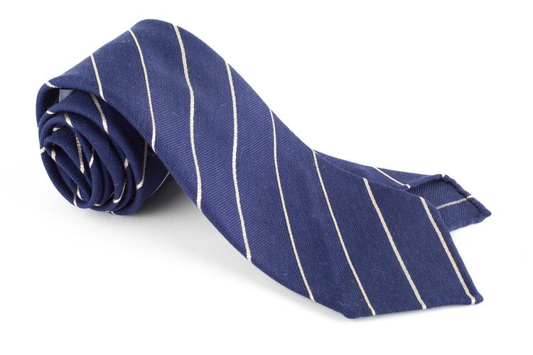 Regimental Textured Silk Tie - Untipped - Navy Blue/White