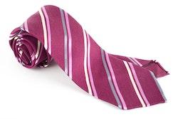 Regimental Silk Tie - Untipped - Lilac/Grey/Pink