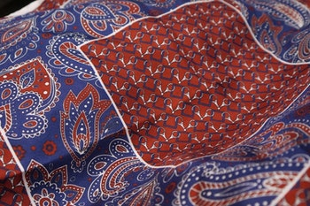 Oriental Silk Pocket Square - Burgundy/Navy Blue/White