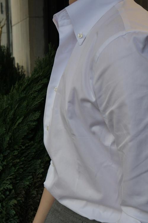 Solid Fine Twill Shirt - Button Down - White