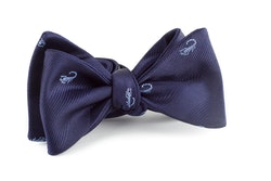 Scorpion Silk Bow Tie - Navy Blue/Light Blue