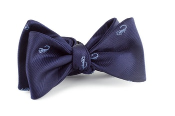 Scorpion Silk Bow Tie - Navy Blue/Light Blue
