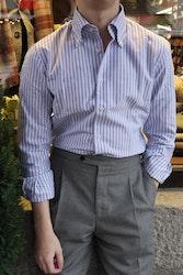 Striped Oxford Shirt - Button Down - Light Blue/White
