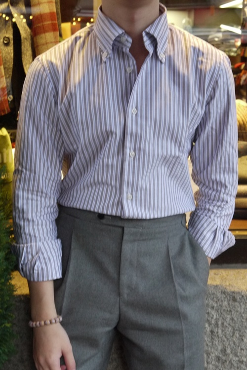 carta Vegetazione gatto  Striped Oxford Shirt - Button Down - Beige/White/Light Blue - Granqvist