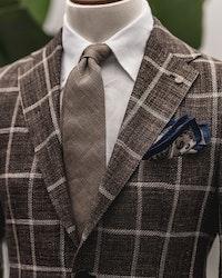 Large Check Linen/Silk Jacket - Unconstructed - Brown/Beige