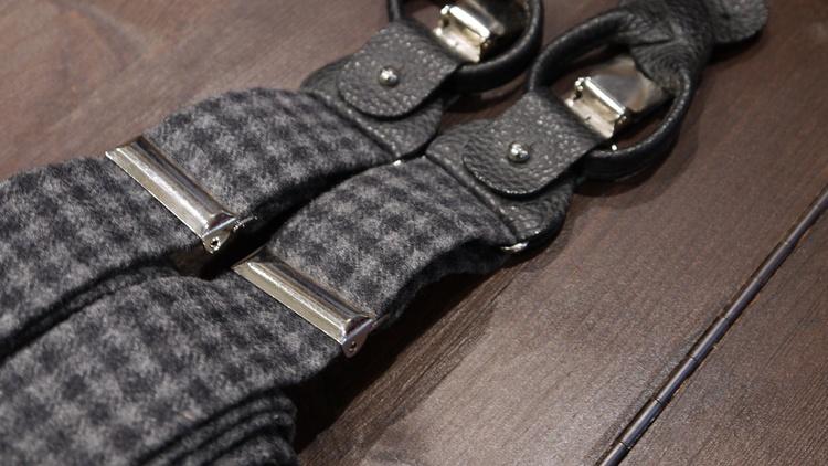 Check Suspenders Solid - Navy Blue/Grey