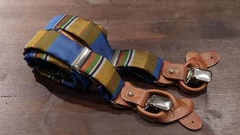 Stripe Suspenders - Light Blue/Orange/Green