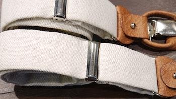 Solid Linen Suspenders - Beige