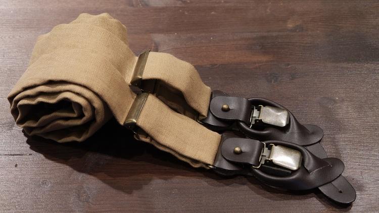Solid Linen Suspenders - Dark Beige