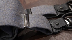 Solid Flannel Suspenders - Dark Grey