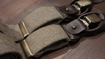 Solid Flannel Suspenders - Olive Green