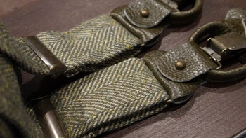 Herringbone Linen/Wool Suspenders - Green