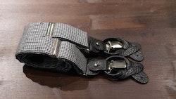Dogtooth Silk Suspenders - Black/White