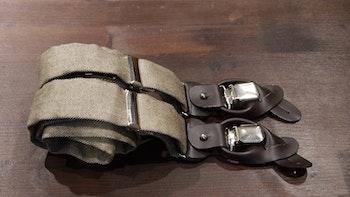 Herringbone Tussar Silk Suspenders - Beige