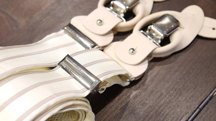 Stripe Viscose Suspenders - Off White/Red