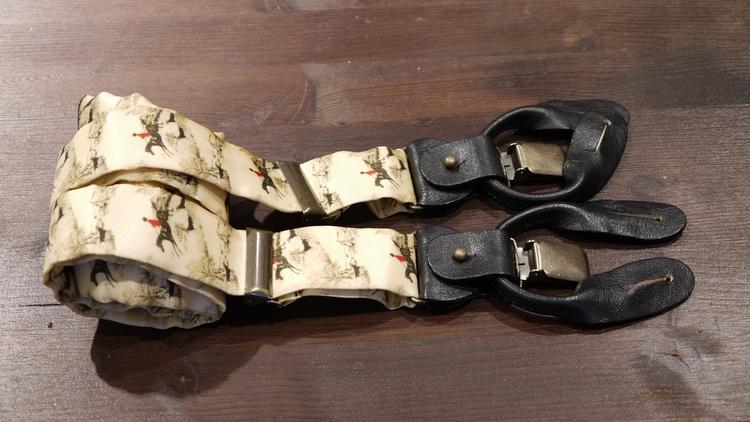 Horse Rider Viscose Suspenders - Beige/Brown