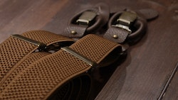 Solid Textured Suspenders Stretch - Brown