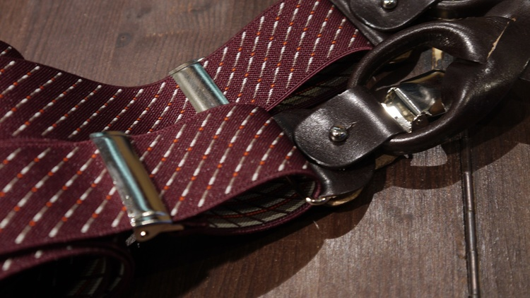 Striped Suspenders Stretch - Burgundy/White