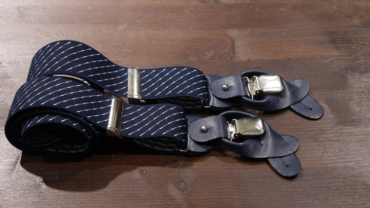 Striped Suspenders Stretch - Navy Blue/White