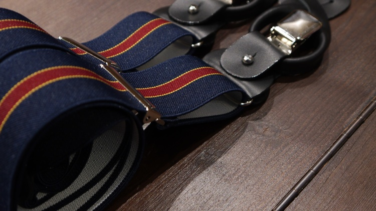 Regimental Suspenders Stretch - Navy Blue/Burgundy
