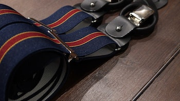 Regimental Suspenders Stretch - Navy Blue/Burgundy