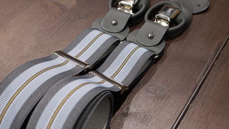 Regimental Suspenders Stretch - Grey/Light Blue