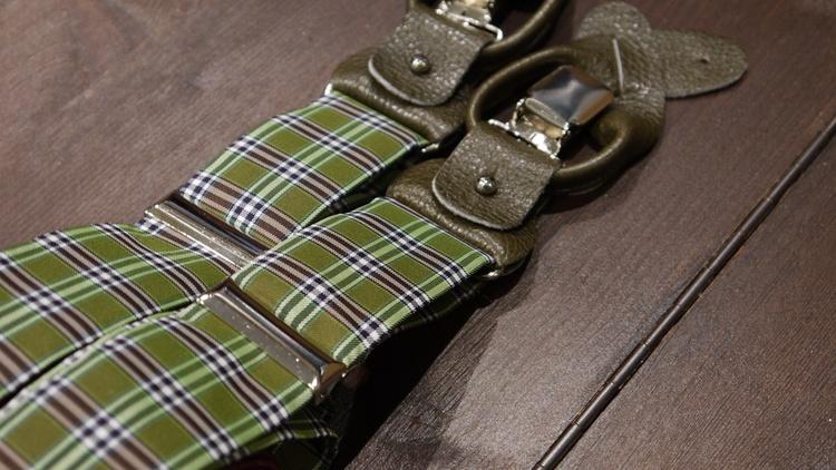 Check Viscose Suspenders - Beige/Brown