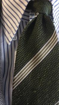 Regimental Shantung Grenadine Tie - Olive Green/White