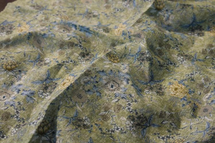 Floral Linen Pocket Square - Green