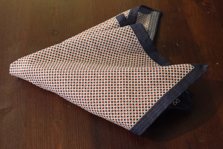 Polka Dot Seersucker Cotton/Silk Pocket Square - Navy Blue