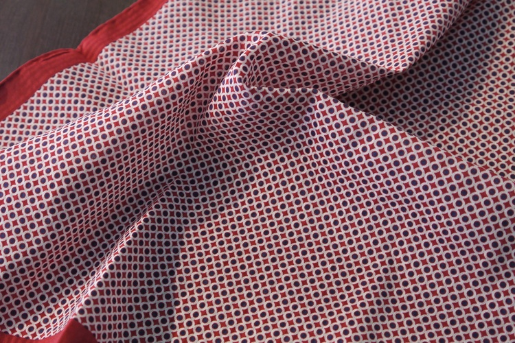 Polka Dot Seersucker Cotton/Silk Pocket Square - Red