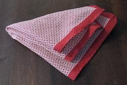 Polka Dot Seersucker Cotton/Silk Pocket Square - Red