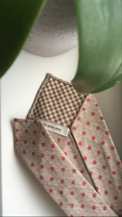 Floral Printed Silk Tie - Untipped - Beige/Red