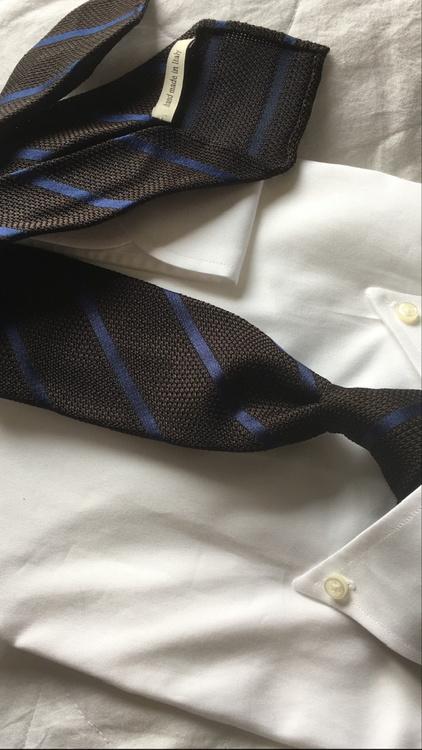Regimental Silk Grenadine Tie - Untipped - Brown/Navy Blue