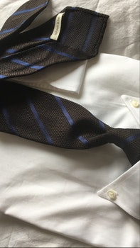 Regimental Silk Grenadine Tie - Untipped - Brown/Navy Blue