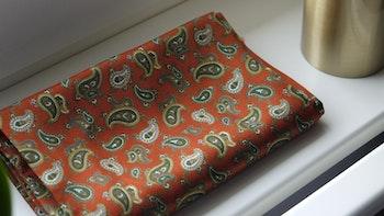 Paisley Silk Scarf - Orange