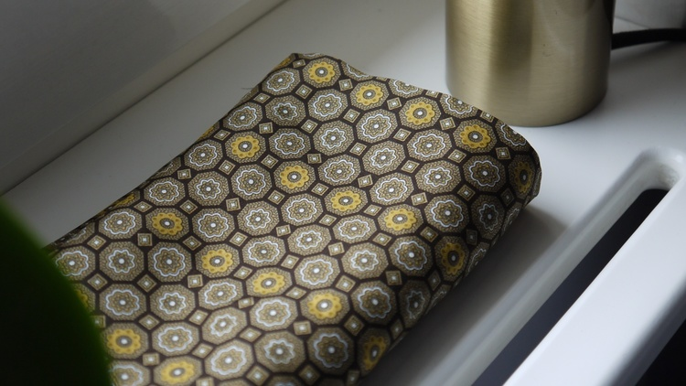 Medallion Silk Scarf - Brown/Yellow
