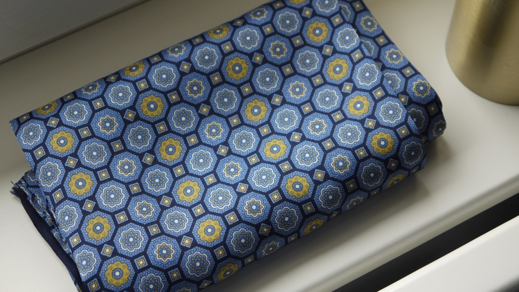 Medallion Silk Scarf - Navy Blue/Yellow