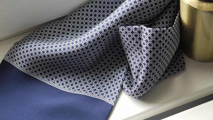 Floral Silk Scarf - Navy Blue/White
