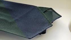 Blockstripe Silk Grenadine Tie - Untipped - Green/Navy Blue