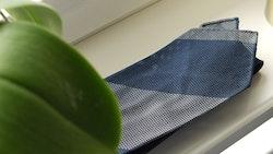 Blockstripe Silk Grenadine Tie - Untipped - Grey/Navy Blue